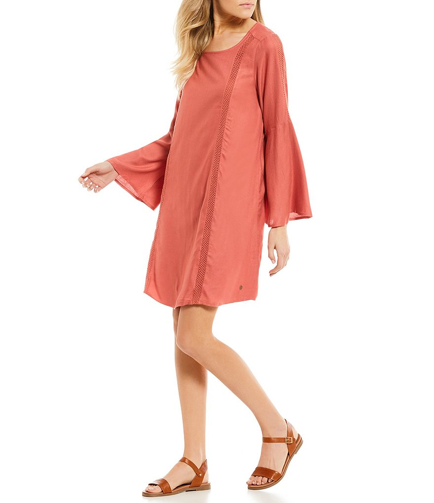 Roxy East Coast Dreamer Lace Inset Bell Sleeve Shift Dress