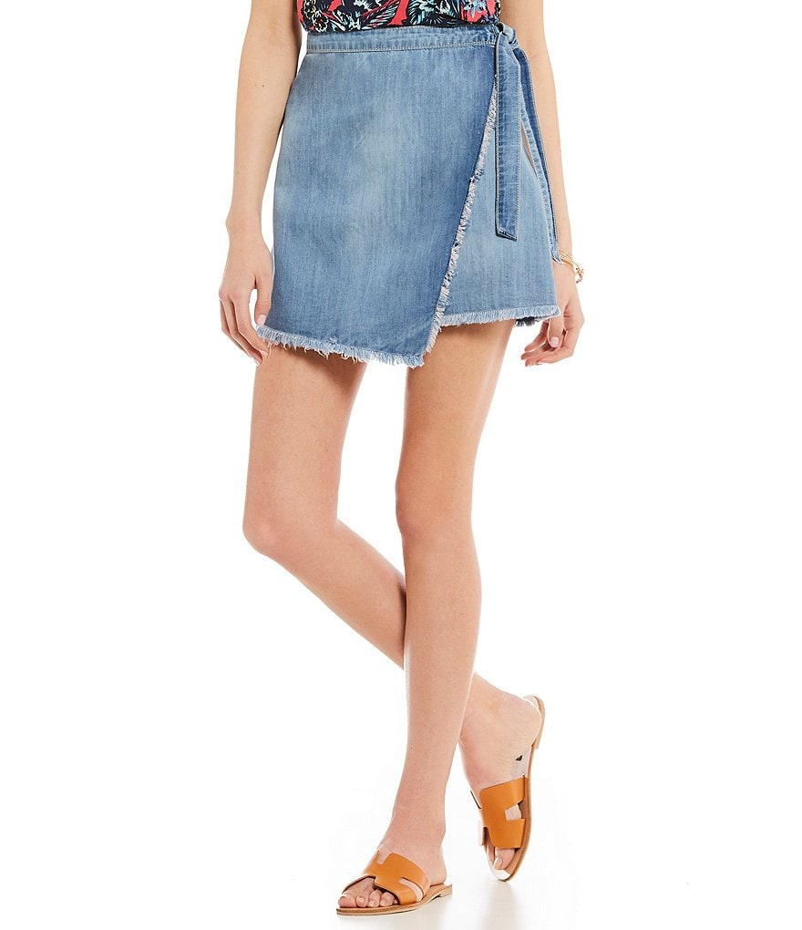Roxy Punta Brea Frayed Hem Denim Wrap Skirt
