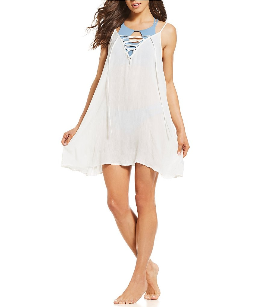 Roxy Softly Love Solid Lace-Up Dress Swimsuit Cover-Up