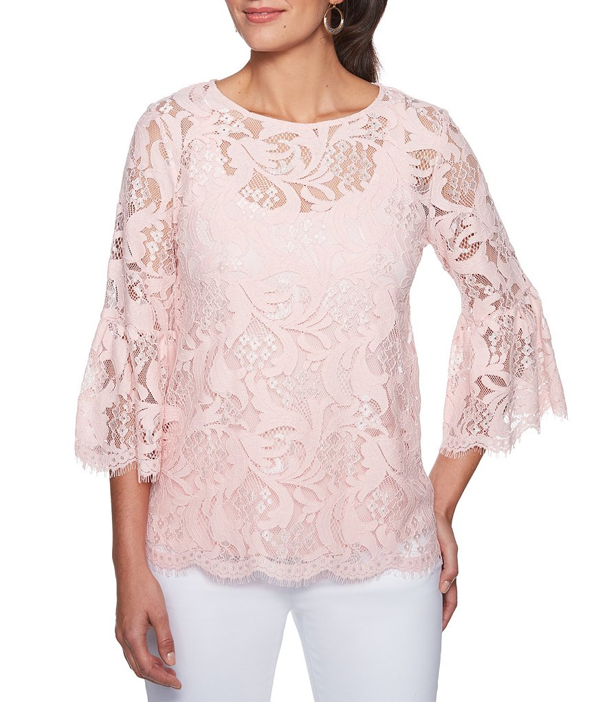 Ruby Rd. 3/4 Bell Sleeve Tonal Jardin Lace Blouse