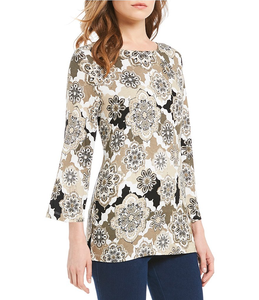 Ruby Rd. 3/4 Sleeve Tossed Medallion Patchwork Print Knit Top