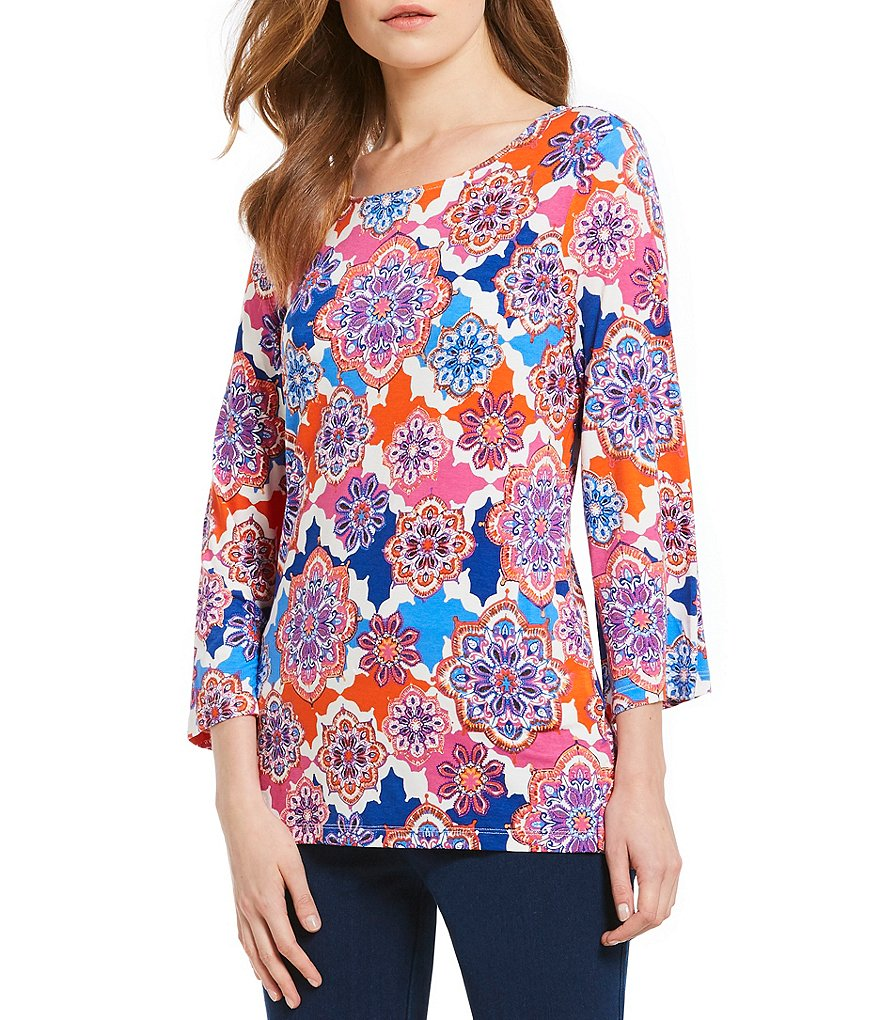 Ruby Rd. 3/4 Bell Sleeve Tossed Medallion Patchwork Print Knit Top