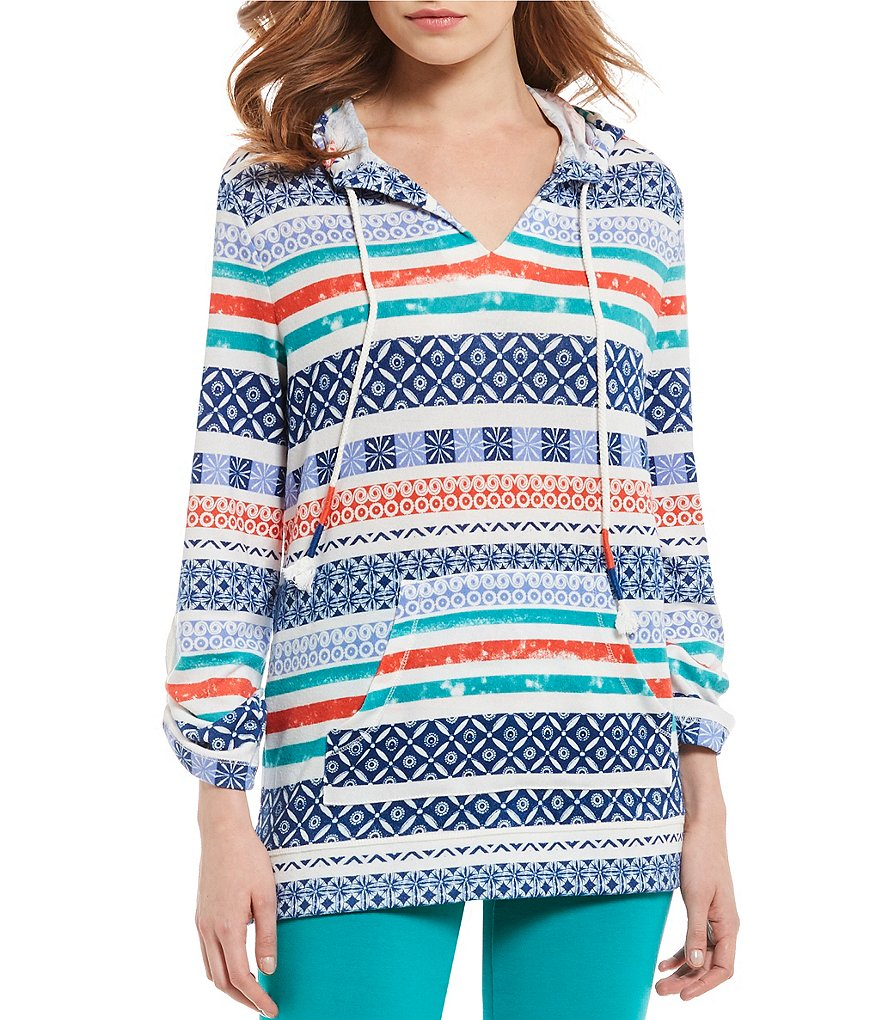 Ruby Rd. 3/4 Roll-Roll Tab Sleeve Hooded Mingle Stripe Haitchi Pullover