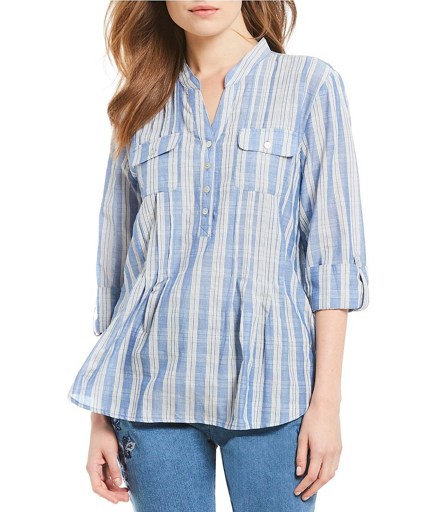 Ruby Rd. 3/4 Roll-Tab Sleeve Striped Dobby Top