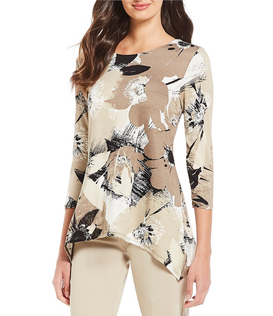 Ruby Rd. 3/4 Sleeve Abstract Brushstroke Floral Print Knit Top