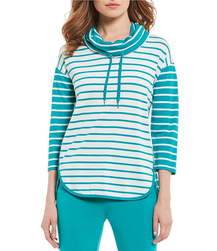 Ruby Rd. 3/4 Sleeve French Terry Combo Stripe Pull-Over Top
