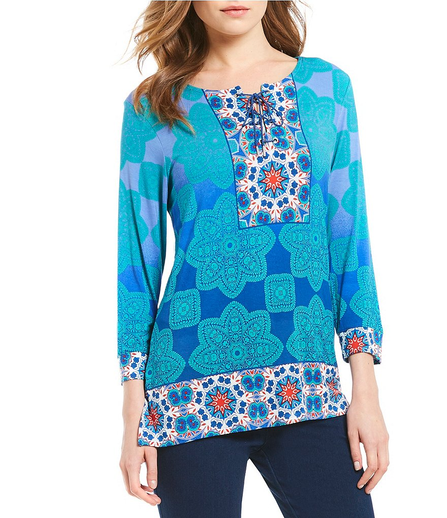 Ruby Rd. 3/4 Sleeve Ombre Kaleidoscope Placement Print Knit Top