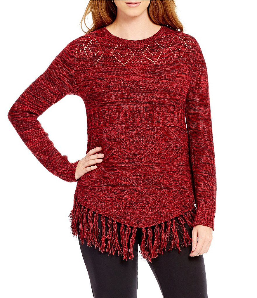 Ruby Rd. Boat Neck Marled Tribal Stitch Fringe Hem Pull-Over Sweater