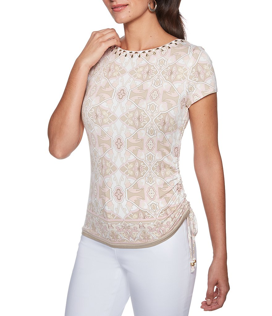Ruby Rd. Climbing Trellis Print Embellished Ruched Side Knit Top