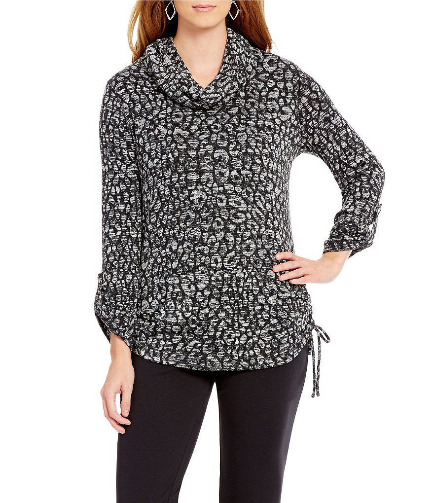 Ruby Rd. Cowl Neck Animal Spot Print Knit Jacquard Pullover