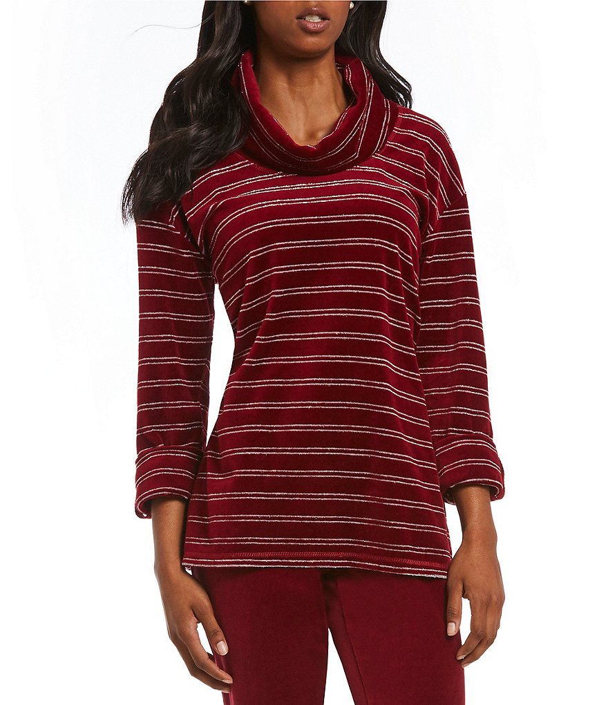 Ruby Rd. Cowl-Neck Metallic Stripe Stretch Velour Top