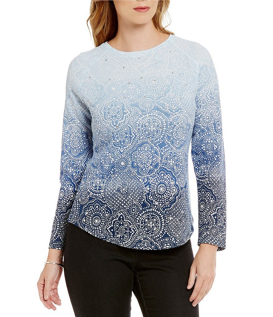 Ruby Rd. Embellished Ballet Neck Printed Thermal Jersey Top