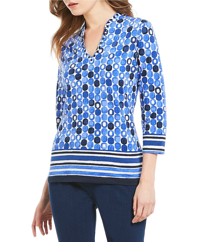 Ruby Rd. Embellished Funnel Neck Brushed Geo Border Print Knit Top