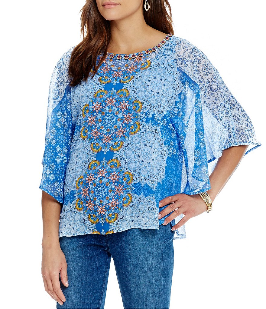 Ruby Rd. Embellished Printed Yoryu Butterfly Top