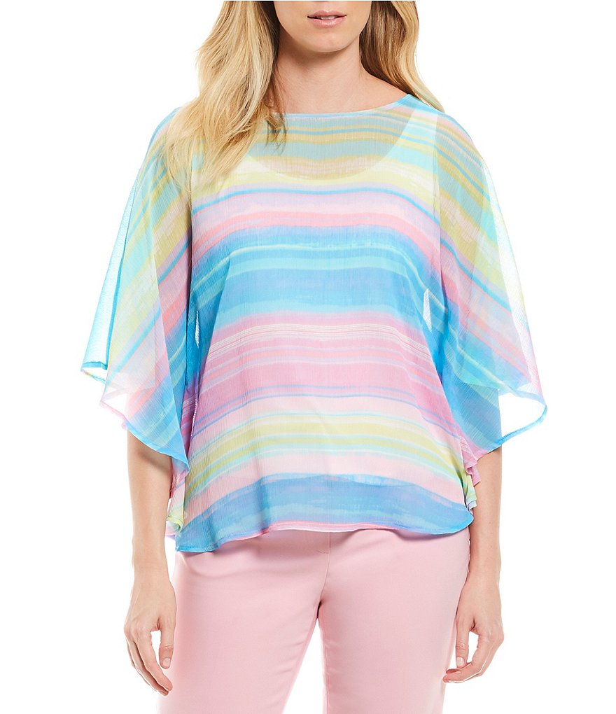 Ruby Rd. Island Sunset Stripe Print Yoryu Butterfly Top