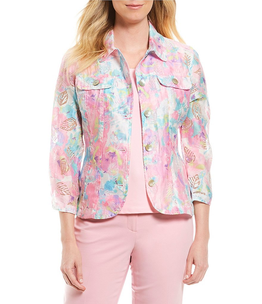 Ruby Rd. Petites 3/4 Sleeve Button Front Peony Garden Print Crinkle Burnout Jacket