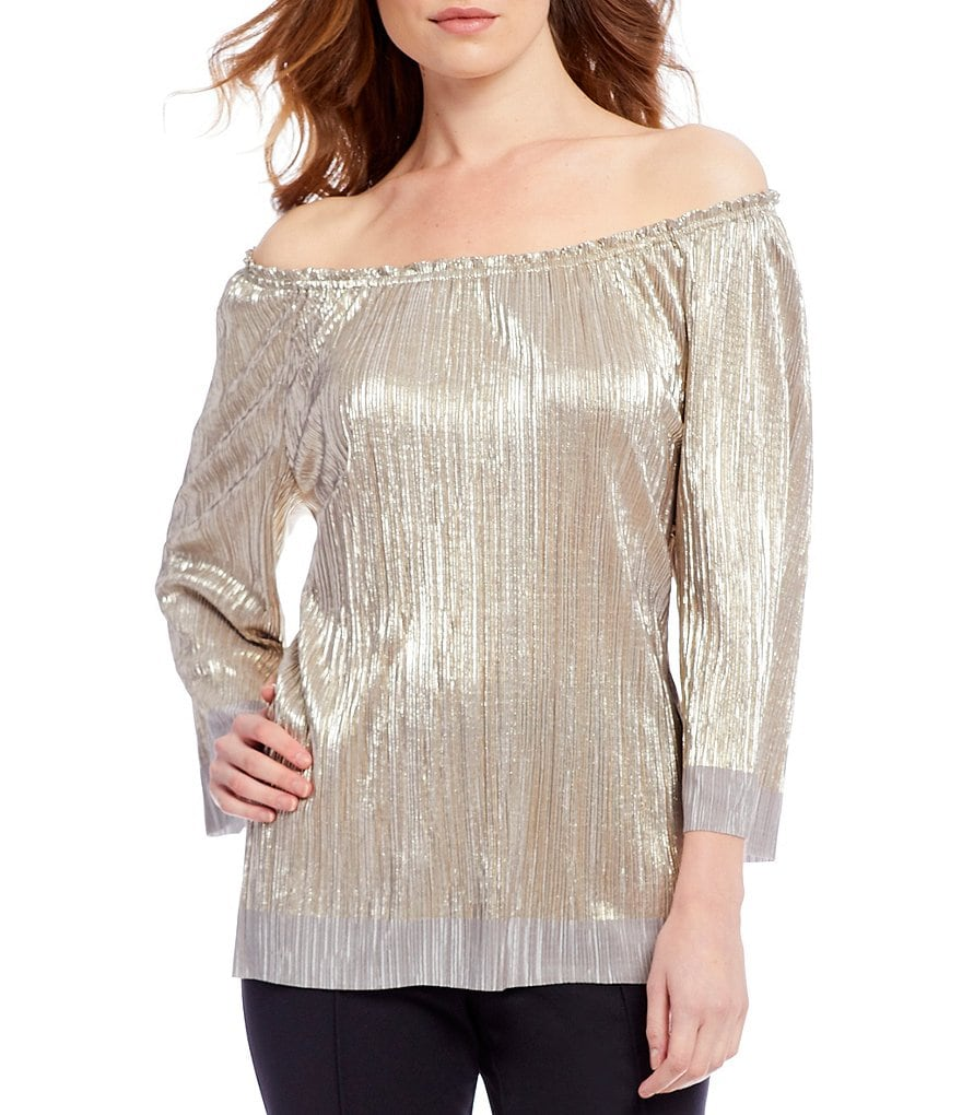 Ruby Rd. Petites 3/4 sleeve Foil Crystal Pleated Tricot Top