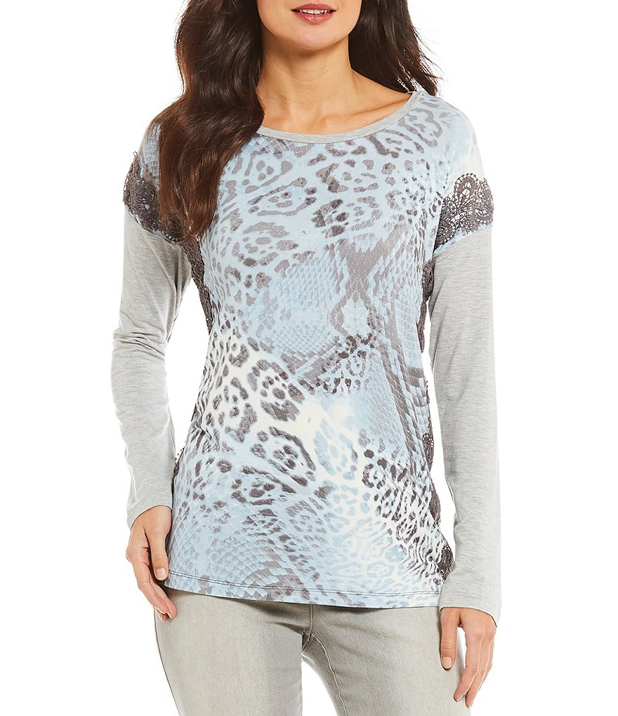 Ruby Rd. Petites 3/4 Sleeve Layered Animal Patchwork Print Top