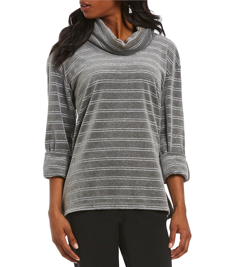 Ruby Rd. Petites Cowl-Neck Metallic Stripe Stretch Velour Top