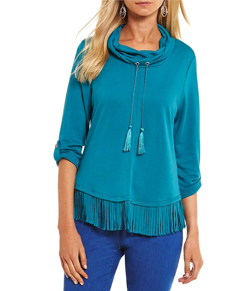 Ruby Rd. Petites Drawstring Cowl-Neck Fringe Hem Silky French Terry Pullover
