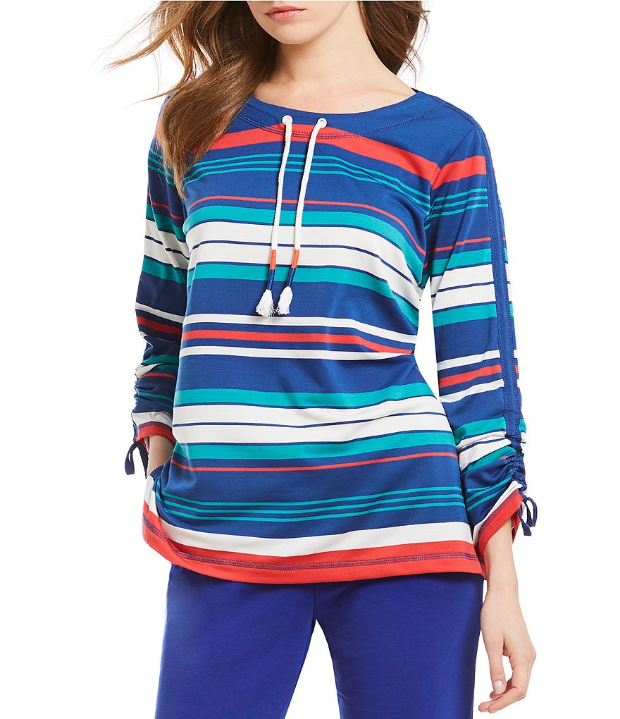 Ruby Rd. Petites Drawstring Neck Striped 3/4 Ruched Sleeve French Terry Pullover