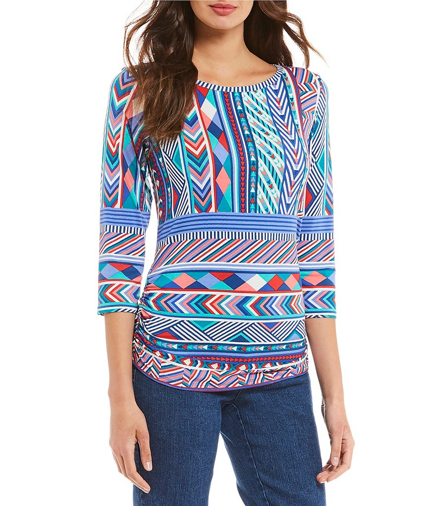 Ruby Rd. Petites Embellished Scoop Neck Geo Border Print Knit Top