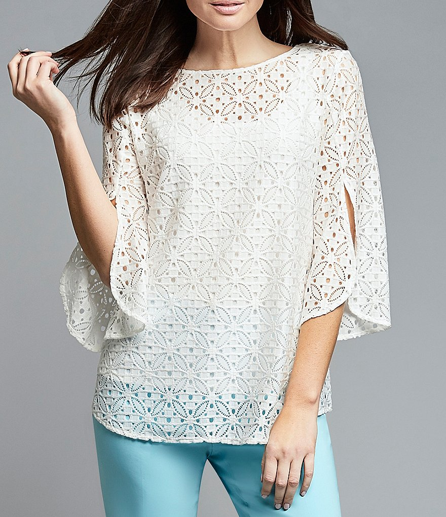 Ruby Rd. Petites Split Bell Sleeve Medallion Lace Top