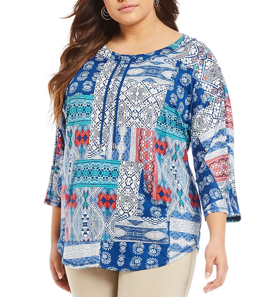 Ruby Rd. Plus 3/4 Kimono Sleeve Printed Jersey Top