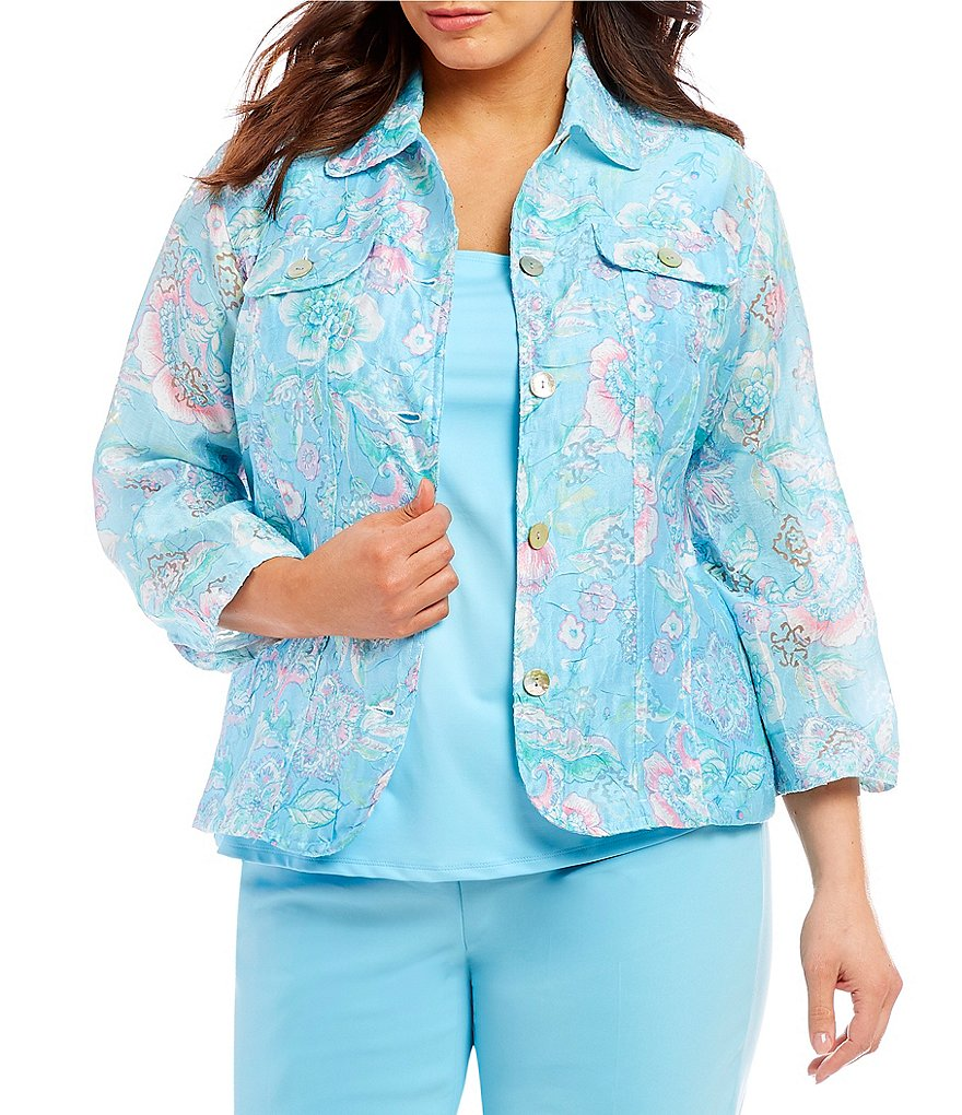 Ruby Rd. Plus 3/4 Sleeve Button Front Floral Print Crinkle Burnout Jacket