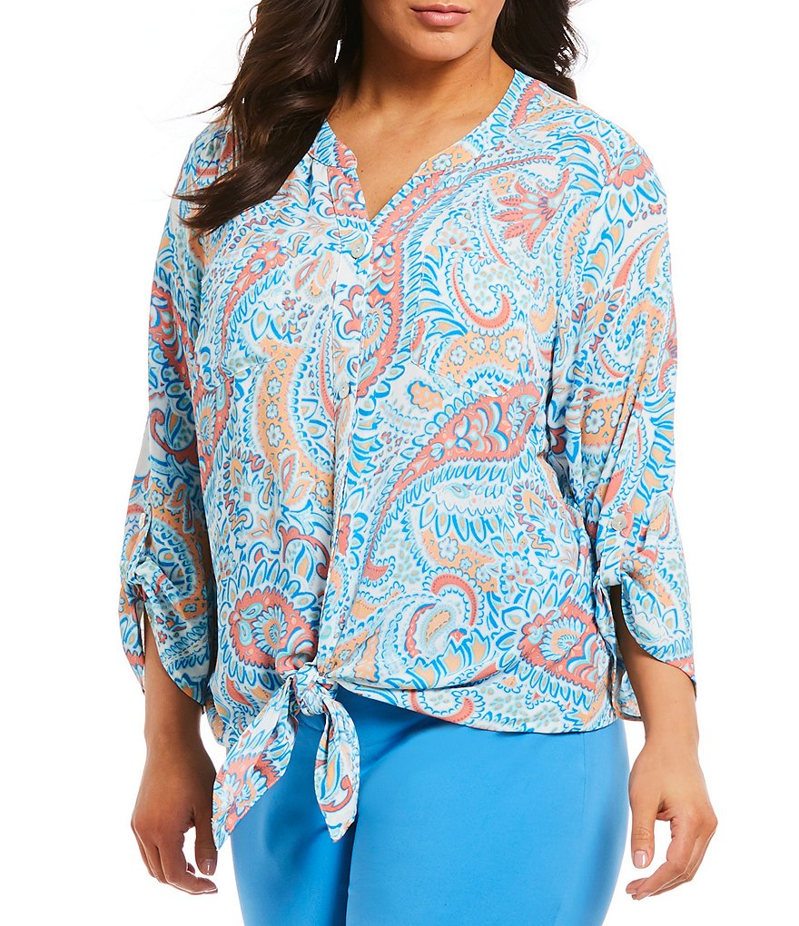 Ruby Rd. Plus Button Front Printed Top