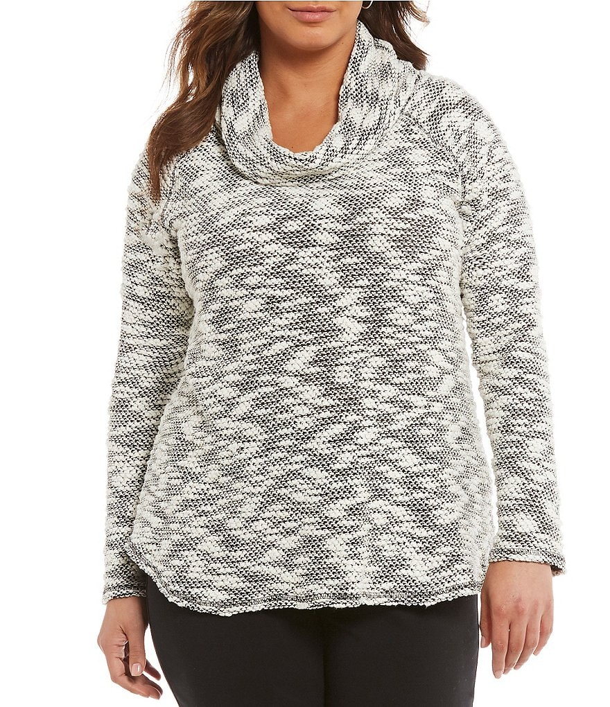 Ruby Rd. Plus Cowl-Neck Knobby Slub Knit Pullover