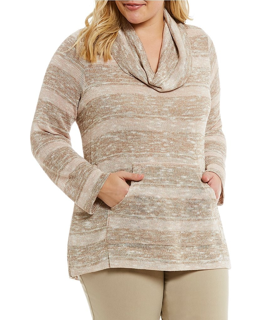 Ruby Rd. Plus Cowl-Neck Metallic Stripe Jersey Pullover
