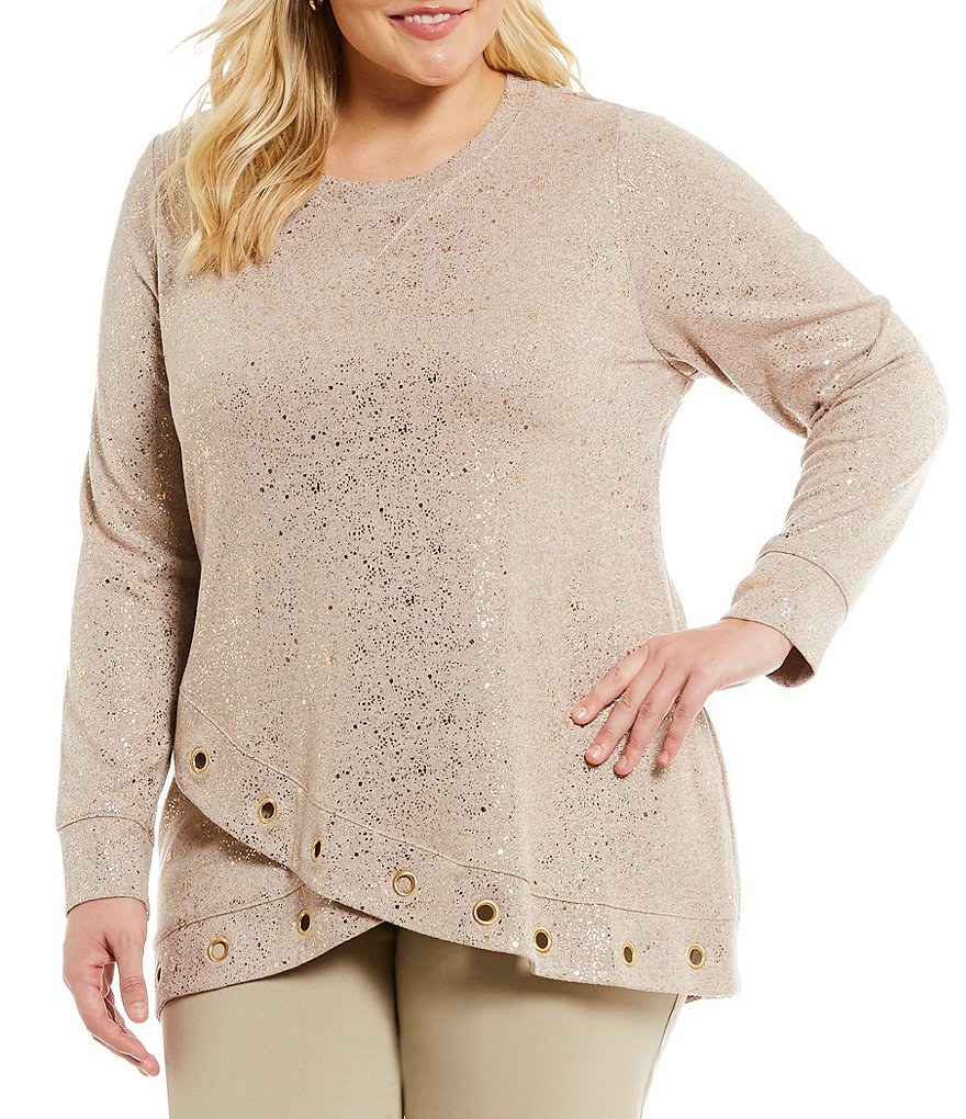 Ruby Rd. Plus Embellished Hem Foil Print Heather Hatchi Pullover