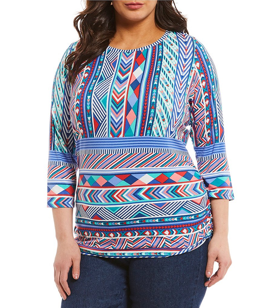 Ruby Rd. Plus Embellished Scoop Neck Geo Border Print Knit Top