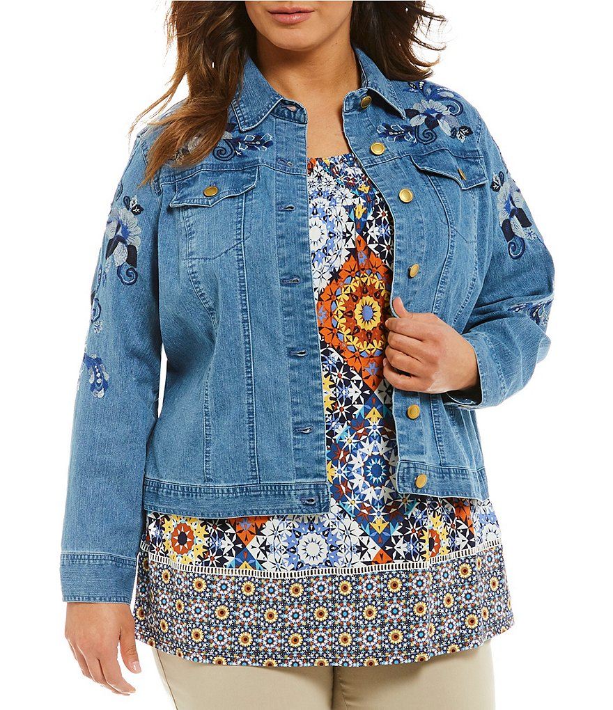 Ruby Rd. Plus Embroidered Denim Jacket