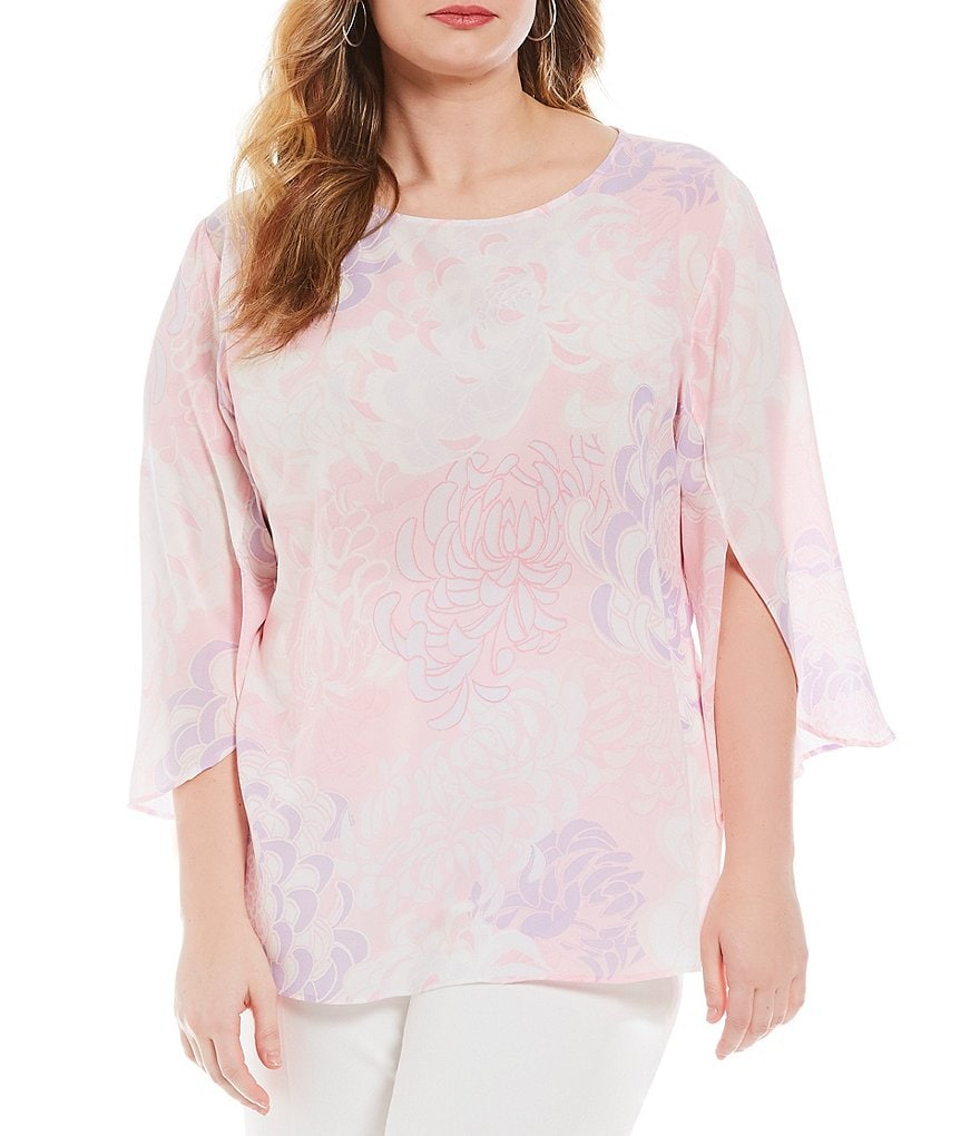 Ruby Rd. Plus Floral Print Tulip Sleeve Blouse