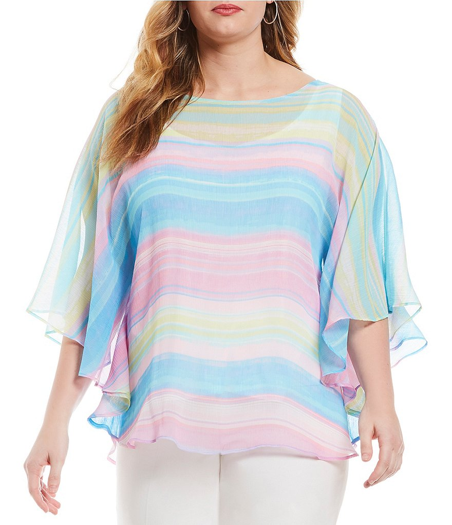 Ruby Rd. Plus Island Sunset Stripe Print Yoryu Butterfly Blouse