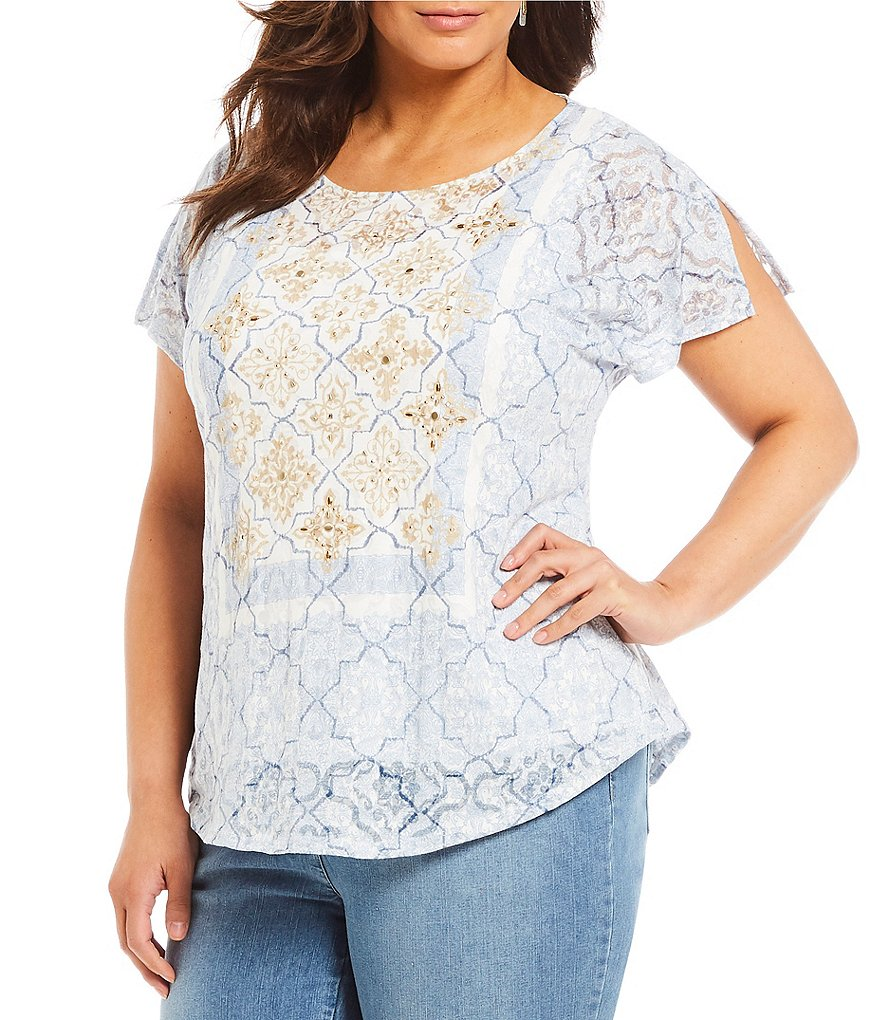 Ruby Rd. Plus Knit Studded Medallion Print Tee