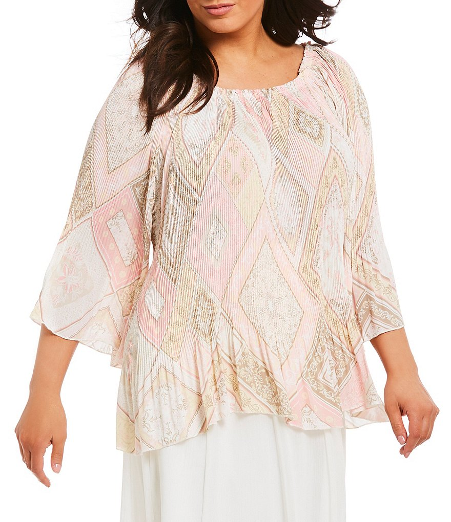 Ruby Rd. Plus Pleated Crepe Multi Print Bell Sleeve Top