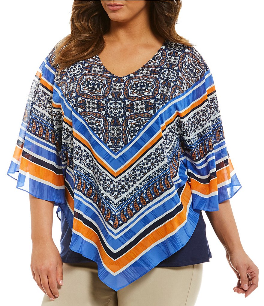 Ruby Rd. Plus Scarf Print Butterfly Top