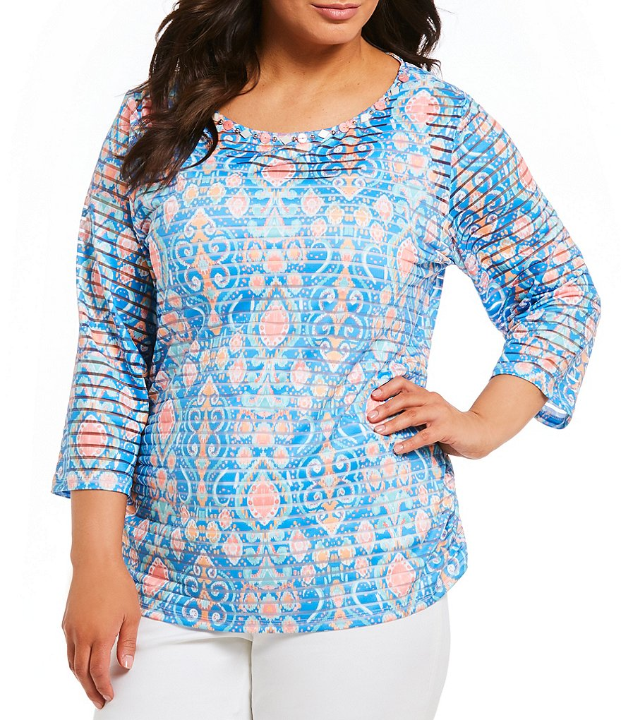 Ruby Rd. Plus Size Ikat Stripe Top