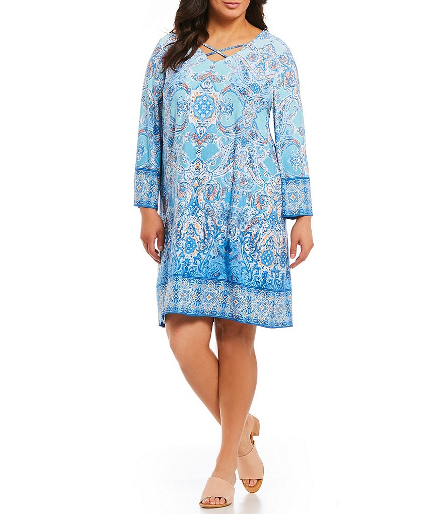 Ruby Rd. Plus Size Provincial Tile Print Shift Dress