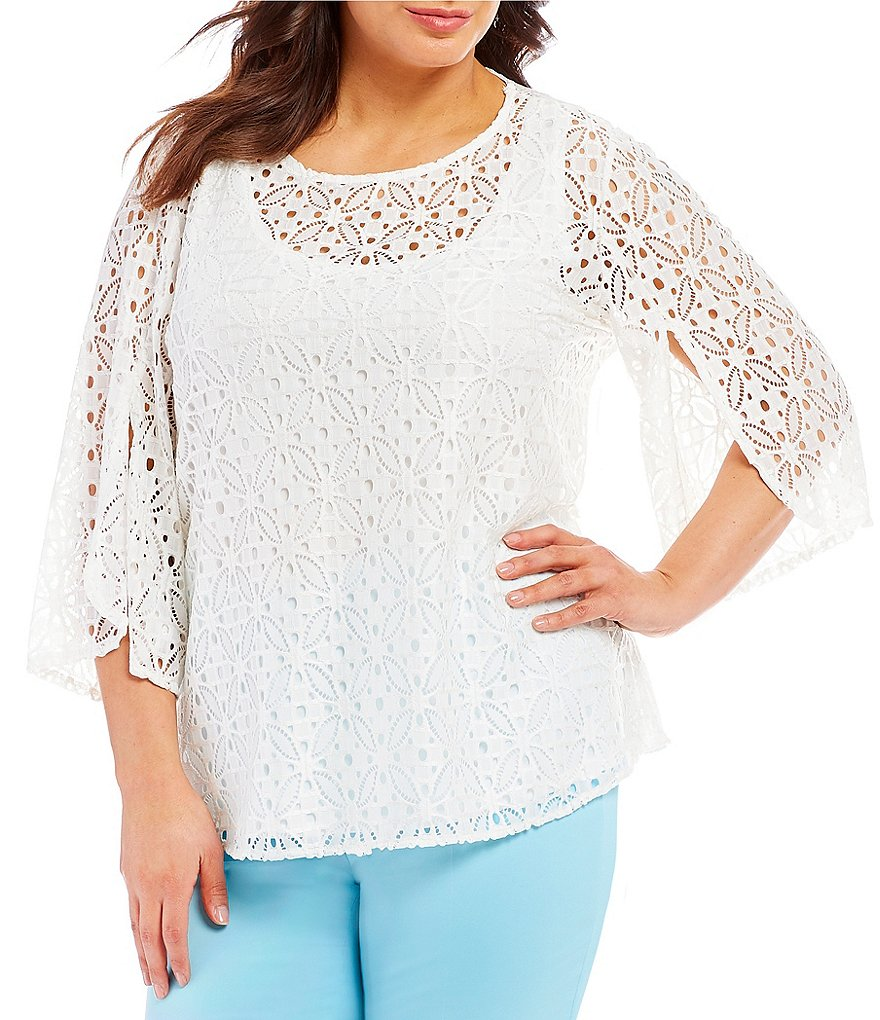 Ruby Rd. Plus Solid 3/4 Sleeve Medallion Lace Blouse