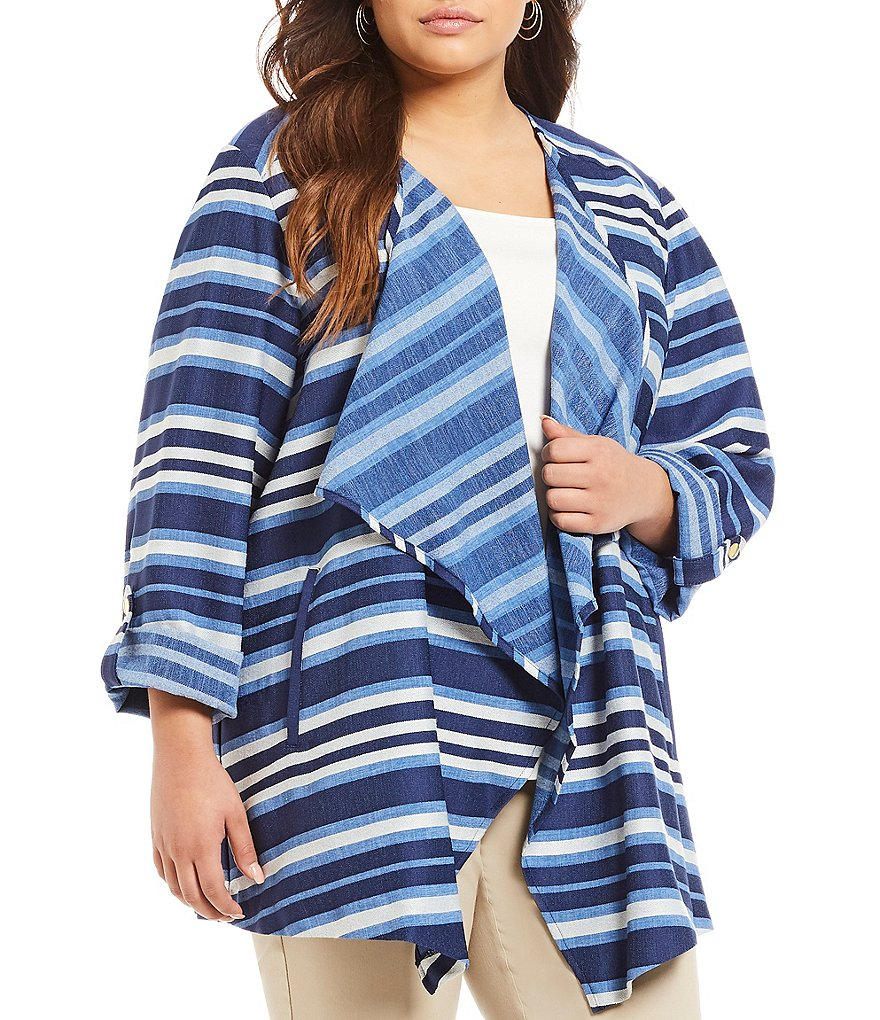 Ruby Rd. Plus Tapered Striped Cardigan