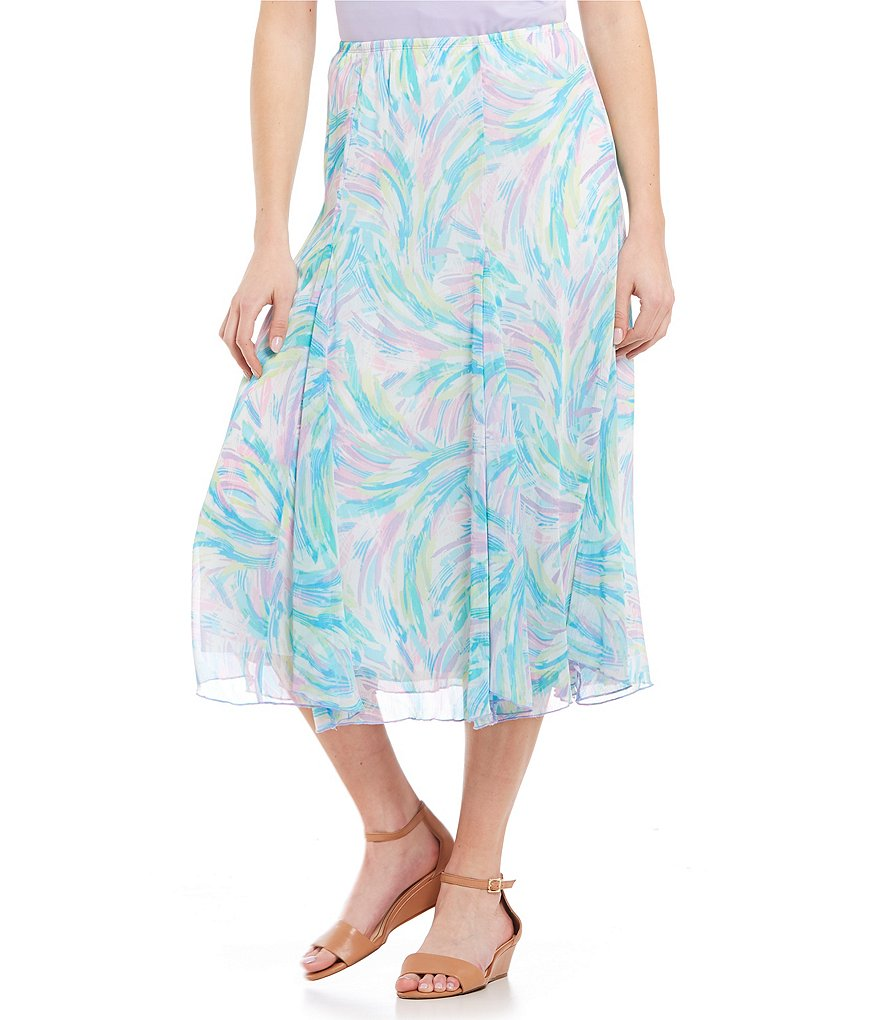 Ruby Rd. Pull-On Paint Splash Print Long Gored Yoryu Skirt