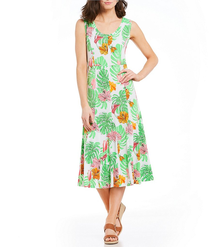 Ruby Rd. Sleeveless Island Bouquet Print Midi Dress