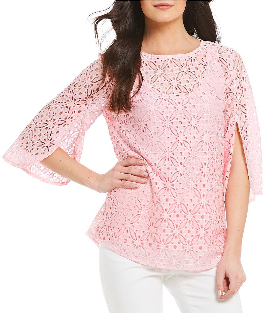 Ruby Rd. Split Bell Sleeve Medallion Lace Top