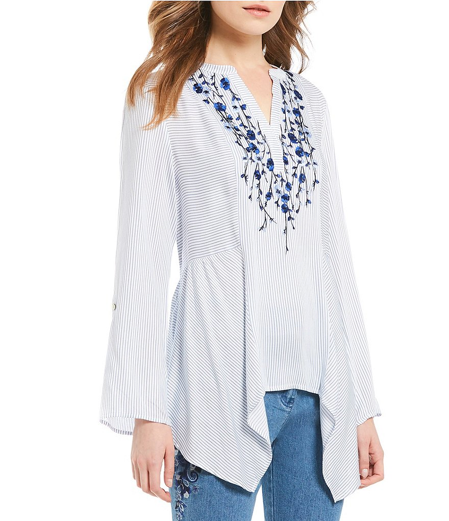 Ruby Rd. 3/4 Roll-Tab Sleeve Embroidered Stripe Tunic