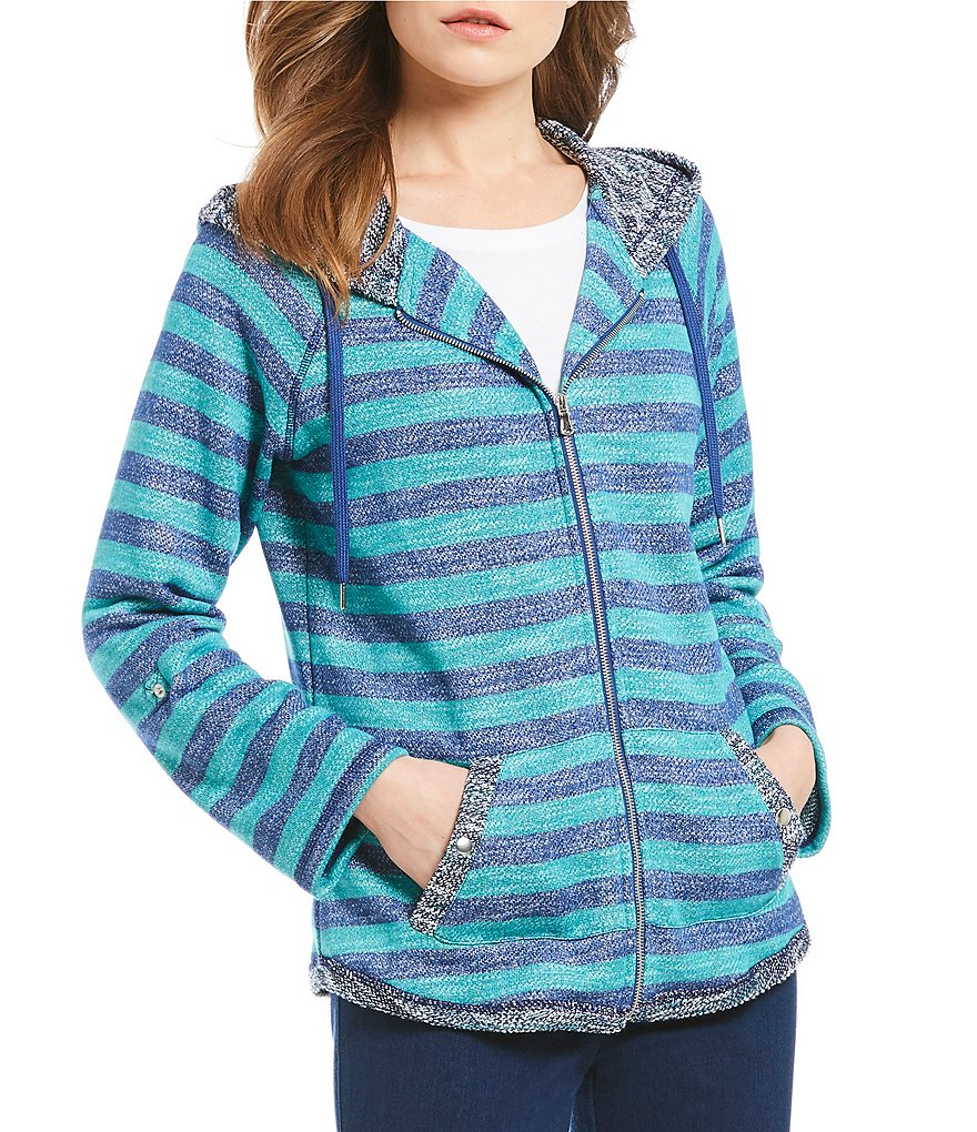 Ruby Rd. 3/4 Roll-Tab Sleeve Zip-Up Striped Hooded Jacket