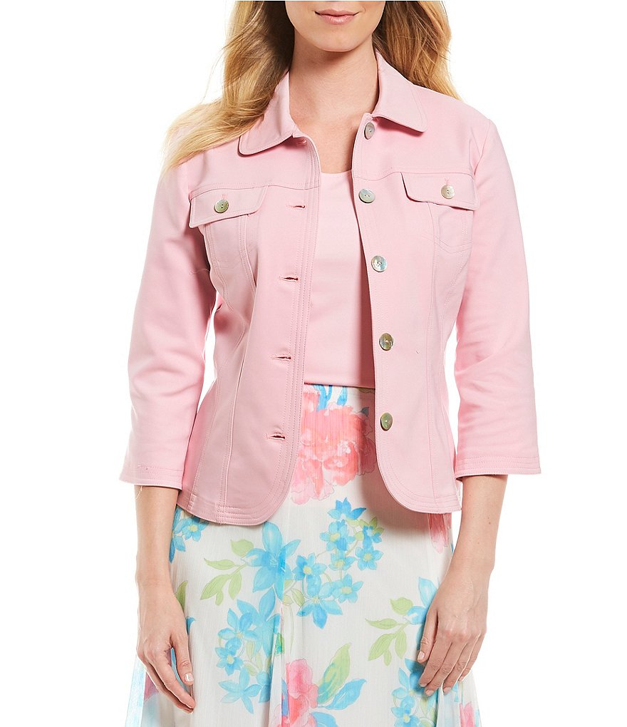 Ruby Rd. 3/4 Sleeve Button Front Double Face Stretch Solid Jacket